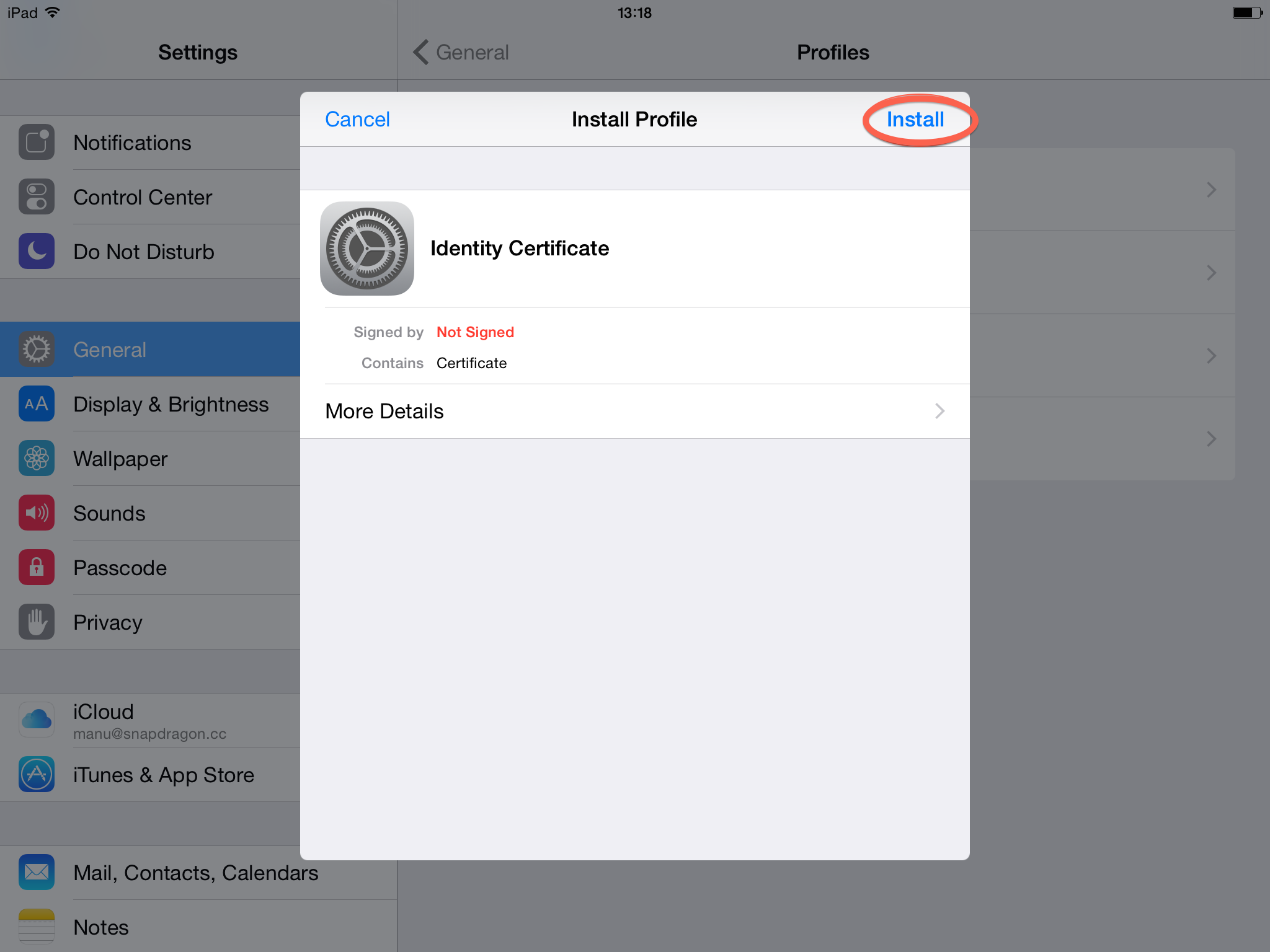 Install S/MIME email encryption certificate on Apple iOS